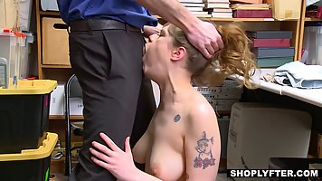 Chubby shoplifter got fucked in the back room, because she d...