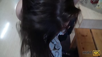 Slutty brunette has managed to get fucked even in the bowlin...