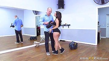 Dark haired lady, Kelsi Monroe is taking her bald guy's big ...