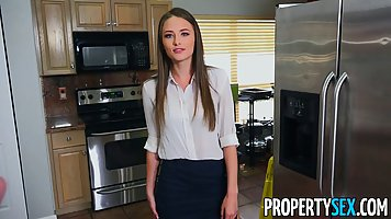 Blue- eyed brunette is working as a rental agent and often h...