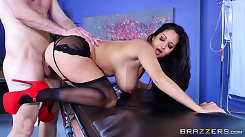 Racy doctor, Ava Addams is taking her handsome patient's hug...