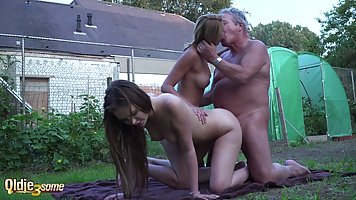 Elderly man got very lucky with two young sluts who wanted t...