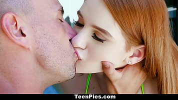 Adorable, red haired girl is getting fucked very hard, while...