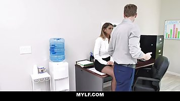 Gorgeous office lady with big tits is about to fuck her boss...