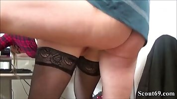 Naughty German blonde likes to suck cock while at work and t...