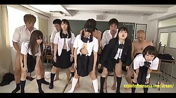 Japanese girls are having a special class in their school, w...