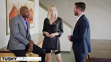 Blonde babe in satin outfit is ready to fuck a black guy unt...