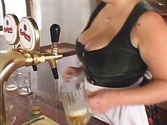 Big titted lady is often letting guys suck her nipples, even...