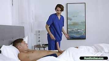 Frisky nurse is visiting some of her patients at home and ha...