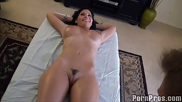 Hot brunette with big, firm tits is getting a very exciting ...