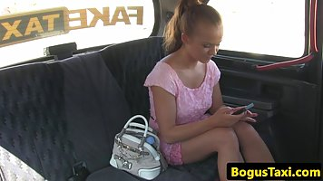 Czech blonde is secretly sucking a taxi driver's dick an...
