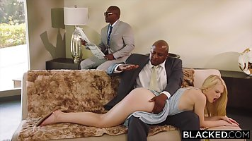 Blonde babe got fucked in a doggy style position by a black ...