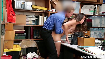 Adorable girl was caught shoplifting, so she ended up fucked...