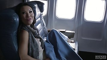 Asa Akira is fucking a man on the plane while Jessica Drake ...