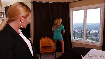 Blonde lady boss and her naughty secretary are having lots o...