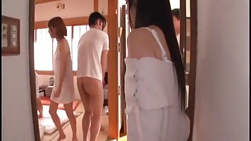 Japanese girls seem to like group sex adventures, because th...