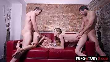 Kenzie Reeves and Haley Reed are swapping guys during a four...