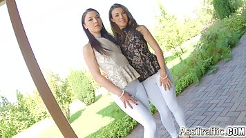Two girls who were wearing lacy blouses are ready for a thre...