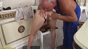 Mature woman is getting a rock hard dick inside her tight as...