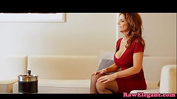 Voluptuous milf in a sexy, red dress got fucked while her hu...