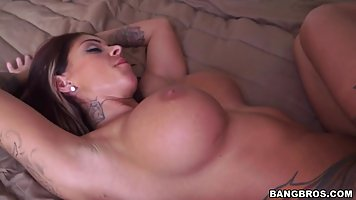 Big titted woman likes to get fucked while her lover is also...