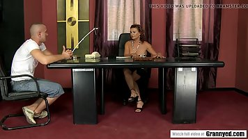 Horny guy is fucking a bossy woman while at work, after gett...