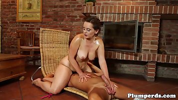 Racy woman with big boobs is naked and fucking her masseur i...