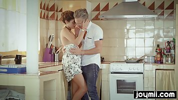 Passionate teen is spreading up wide, in the kitchen and get...