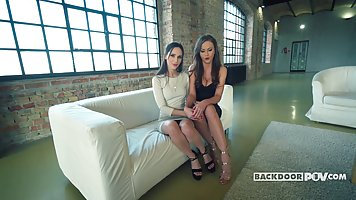 Seductive girls are taking turns sucking their new co- worke...