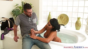 Busty brunette is bouncing up and down while fucking a guy w...
