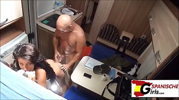 Brunette is about to get fucked hard in a tiny house, while ...