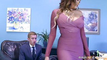 Great looking secretary, Cassidy Banks is spreading her legs...