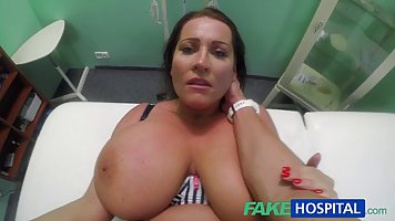 Big titted woman went to her doctor's office to have sex...