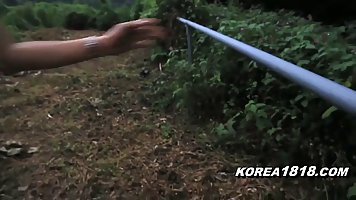 Korean brunette is sucking her new lovers dick in his car an...