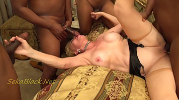 Busty blonde mature, Seka is sucking a big, black dick and g...