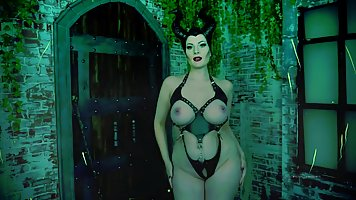 Busty Villainess with black horns is slowly taking off her c...