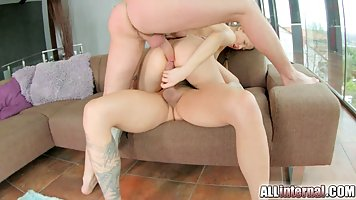 Adorable brunette is eager to get fucked hard, even by two g...