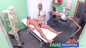 Blonde woman is having casual sex in the hospital, instead o...