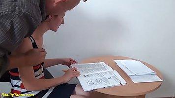 Instead of doing her homework, slutty teen brunette is havin...