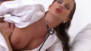 Sexy nurse in her daily checkup fukced one of her patients u...