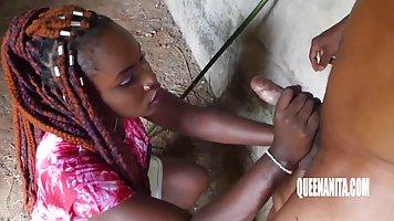 Horny ebony teen likes to get fucked hard, even in the empty...