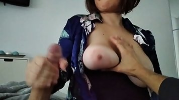 Chubby woman with glasses and big boobs is using an opportun...
