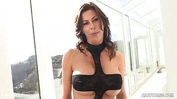 Big titted brunette, Alexis Fawx is about to have group sex ...