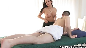 Lovely brunette is working in a massage parlor and often hav...