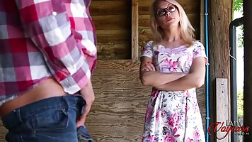 Petite blonde babe took off her floral dress and got down an...