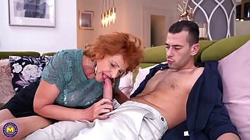 Passionate granny is moaning while having casual sex with a ...