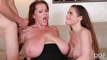 Busty brunettes, Cathy Heaven and Laura are riding rock hard...