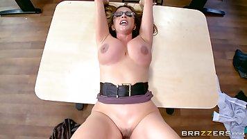 Big titted teacher, Ariella Ferrera is spreading her legs wi...