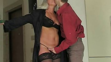 Although she is married, blonde woman likes to have sex with...