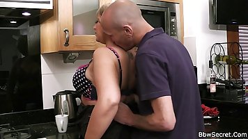 Fat whore, in high heels is sucking her married man's huge t...